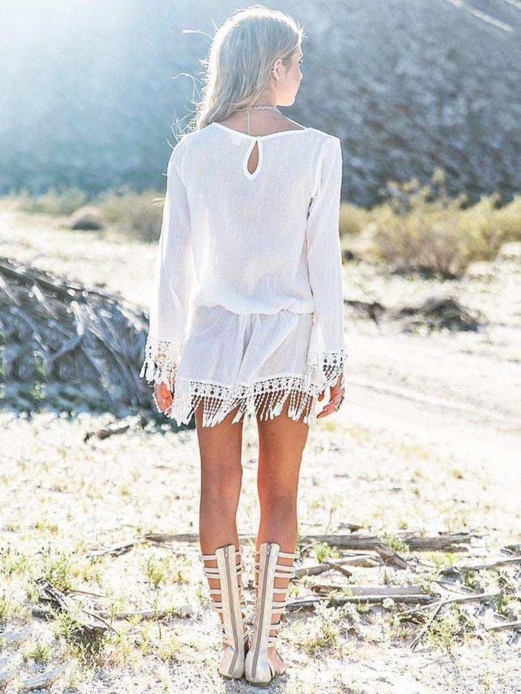 Sexy White Tassels Round Neck Beach Dress Mini Dress