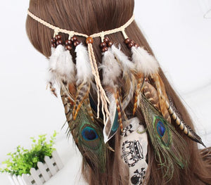 Gypsy Indian Hippie Bohemian Feather Hair Band Headwear - Voguetide