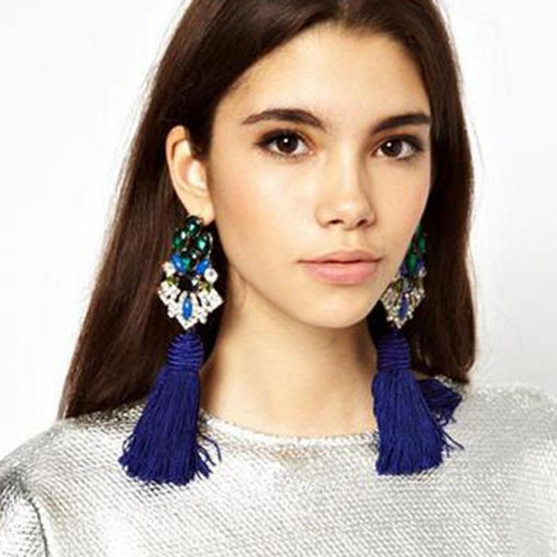Handmade 5 colors long taseel stud earrings rhinestone fashion jewelry for party Bohemia style - Voguetide