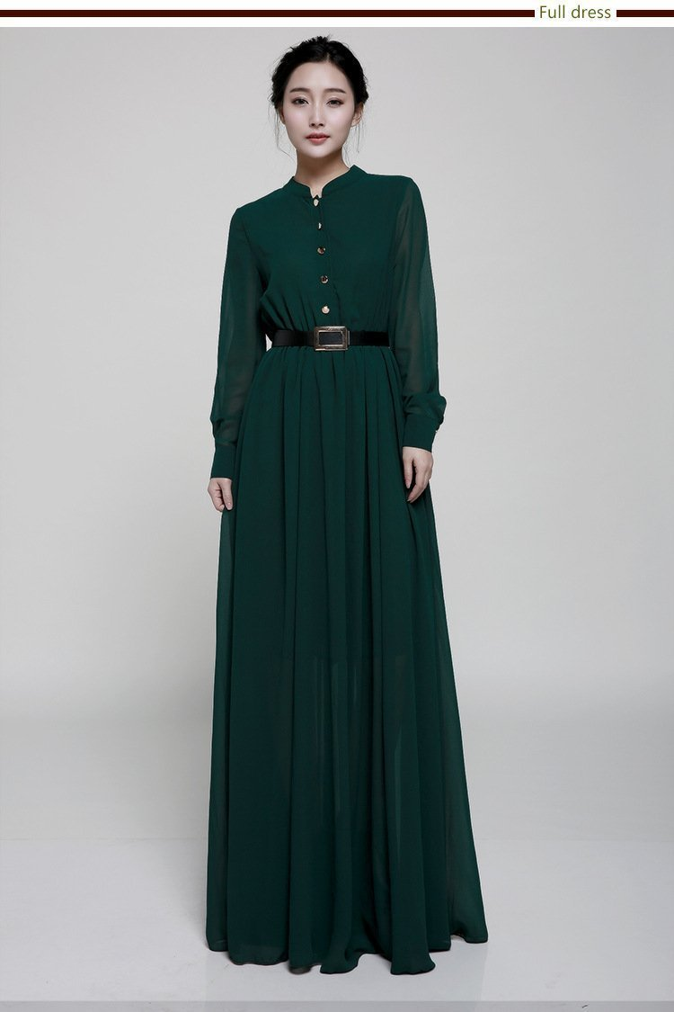 Stand-Up Collar Single-Breasted Long-Sleeved Large Swing Chiffon Mopping Dress