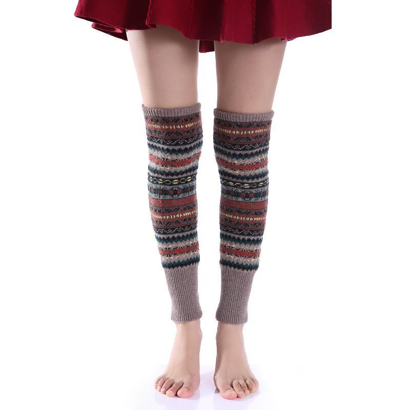 Bohemia Knit Leg Warmers Knitted Over Knee-high Stocking - Voguetide