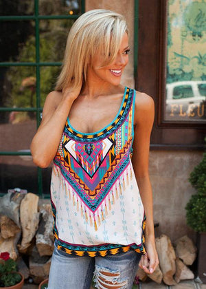 Casual Ethnic Style O-Neck Sleeveless Summer Shirt Tops