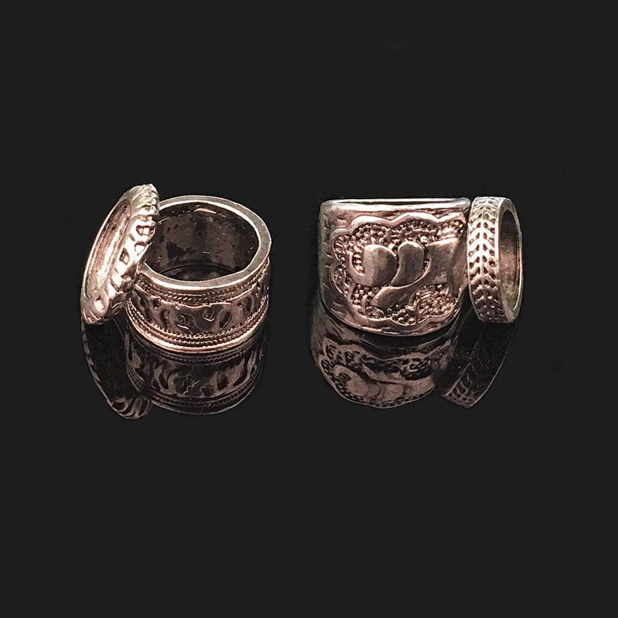 Vintage 4PCS Elephant Carved Rings Accessories