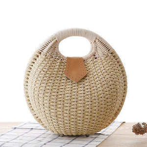 Natural Straw Woven Shell Clutch Beach Handbag