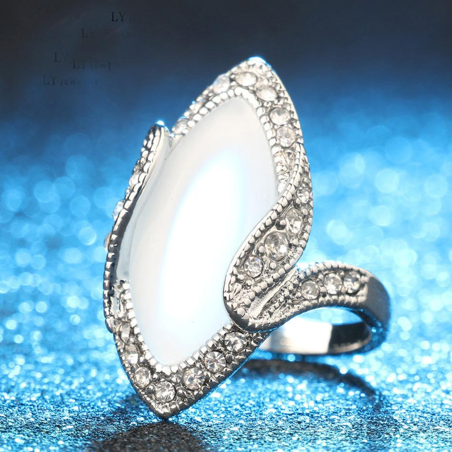 Fashion Big Opal Rings Rhinestone Finger Signet Ring Engagement Jewelry