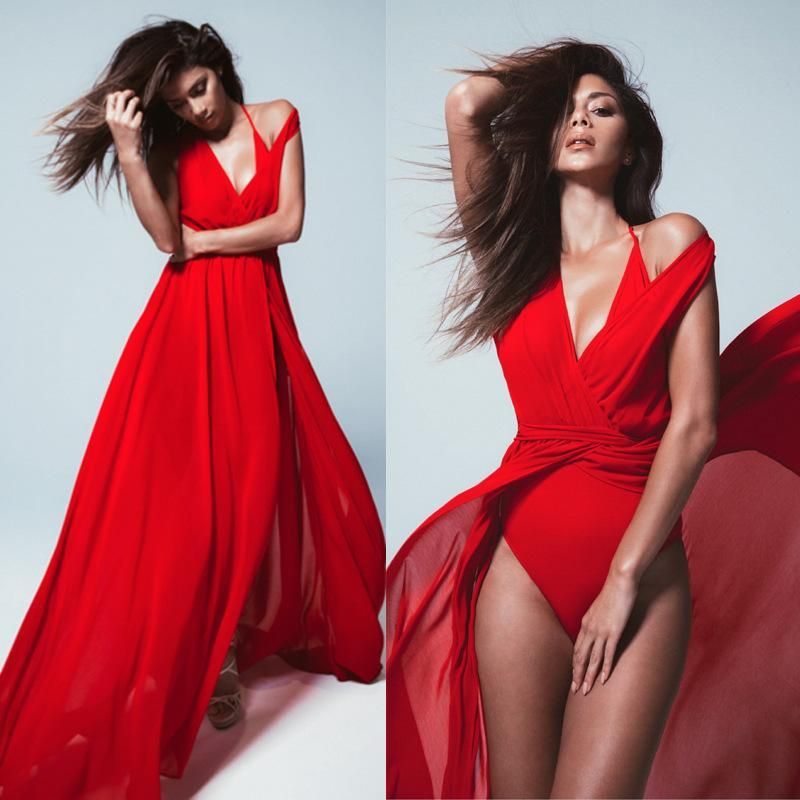 Sexy Solid Color V Neck Split Party Maxi Dress