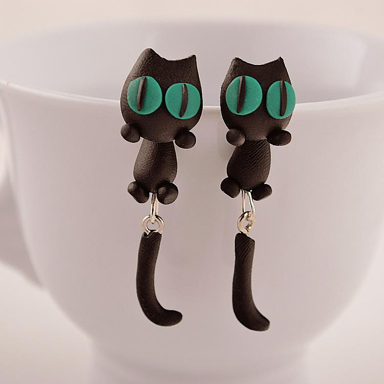 Chic Black Cat Stud Little Kitty Soft Clay Drop Casual Earrings