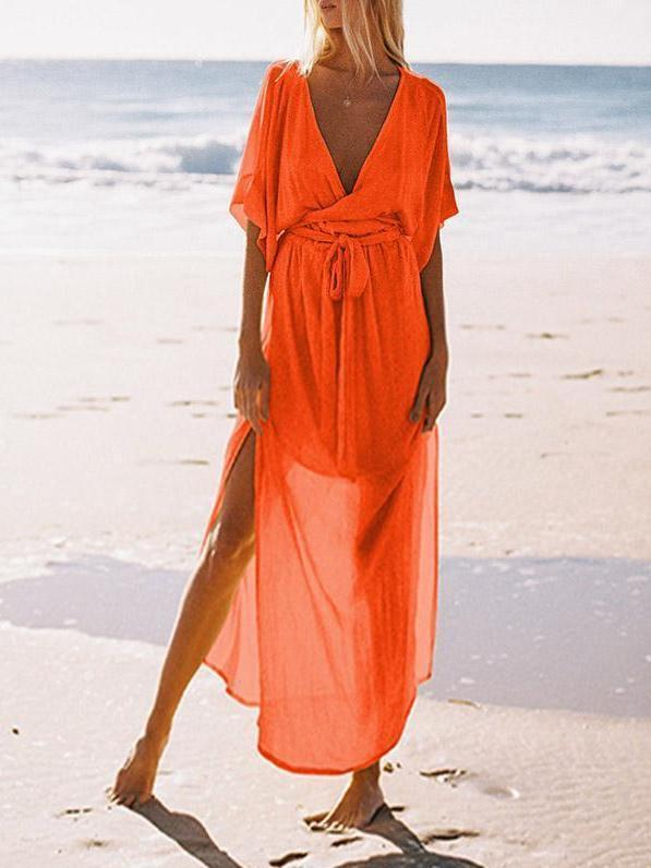 Spring And Summer Deep V-Neck Short-Sleeved Beach Maxi Dress