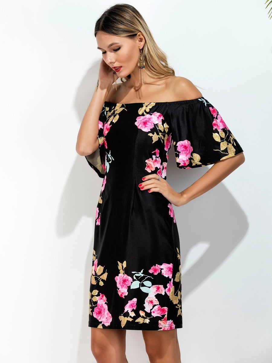 tropical Floral Women s Fashion Personality strapless Dress