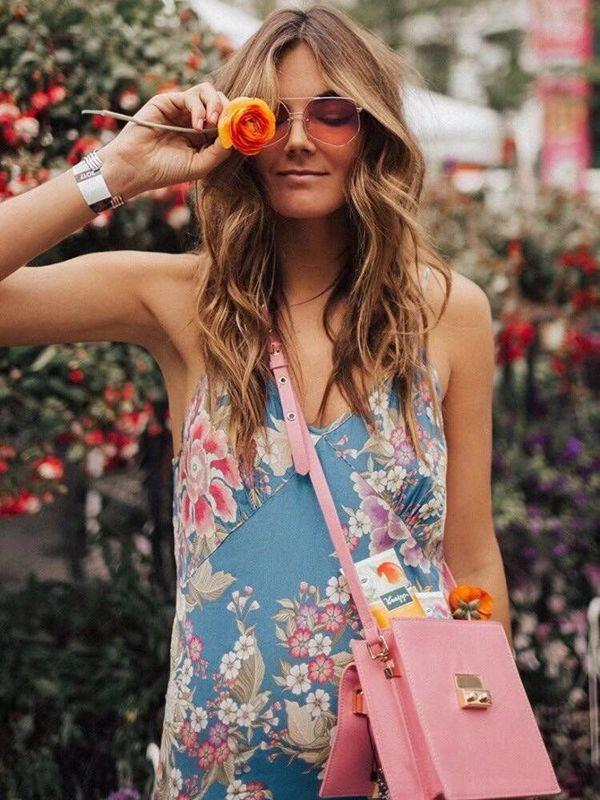 Vacation Style Flower Print Beach Sling Dress