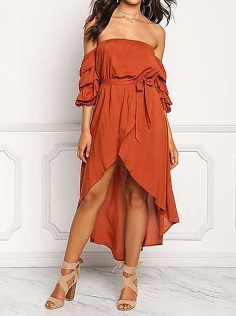Sexy Strapless Backless Belted Irregular Beach Boho Maxi Dress