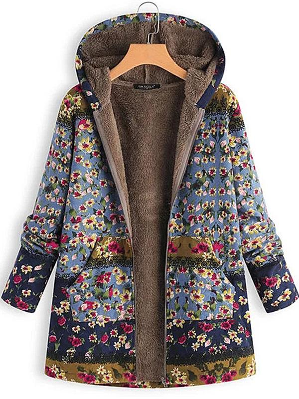 Casual Hooded Plus Size Floral Printed Winter Coat