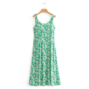 SPAGHETTI STRAPS FLORAL BOW LONG DRESS
