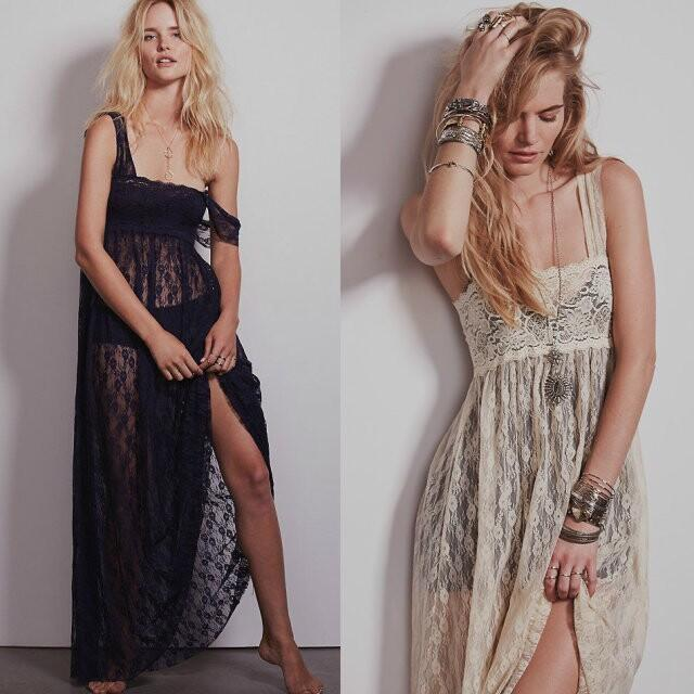 Wide camisole long lace cover-ups