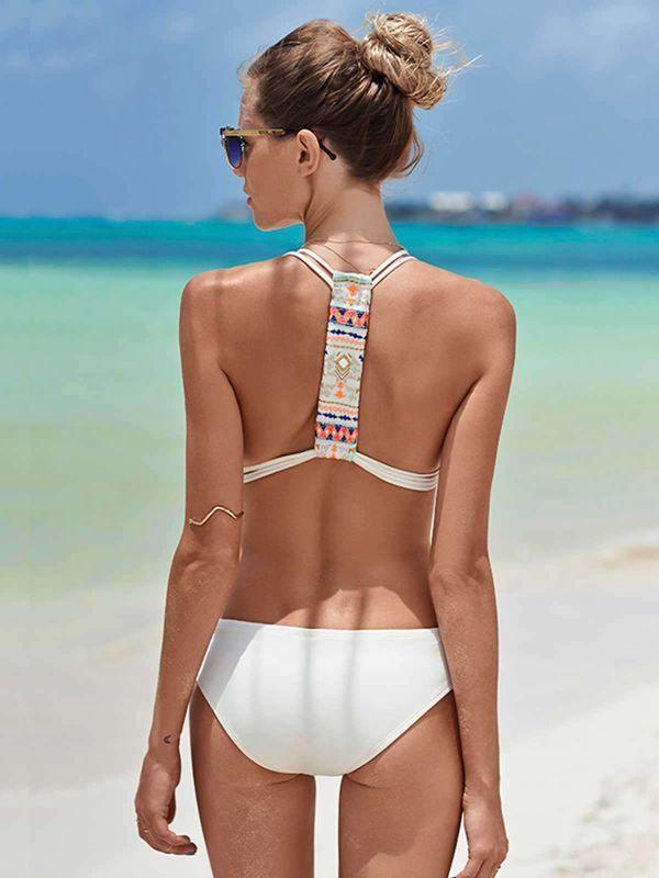 Siamese Solid Color Sexy Bikini Sling Backless Swimsuit