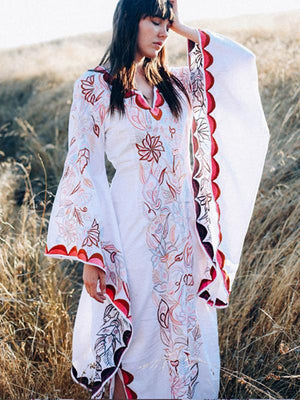 Boho Floral Print White Split Flare Sleeve Maxi Dress