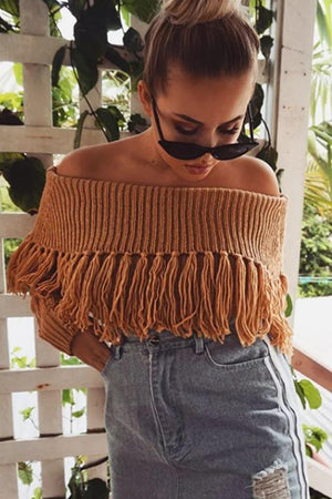 Knit Off Shoulder Long Sleeve Tassel Sweater