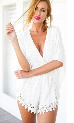 Sexy V Neck Long Sleeve Lace Rompers