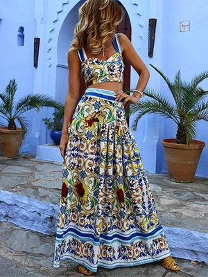 Boho Sexy Off Shoulder Floral Printed Midriff Baring Suit Dress