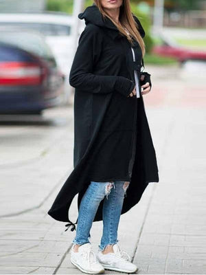Casual Zipper Plus Size Long Sleeve Hooded Autumn Trench Coat Overcoat