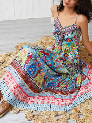 Boho Floral Print Elegant Strapless Summer Travel Beach Ethnic Maxi Dress