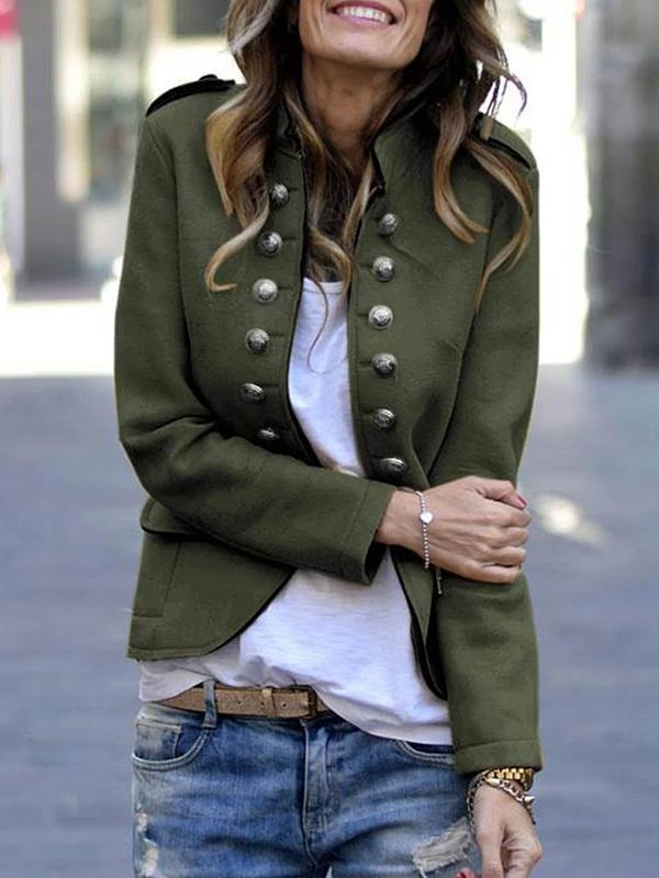 Casual  Pockets Solid Color Long Sleeve Autumn Coats Jacket