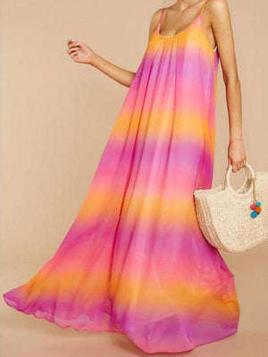 Summer Beach Sleeveless Gradient Maxi Dresses