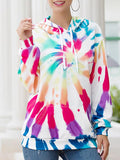 Casual Irregular Gradient Color Print Hoodie Tops