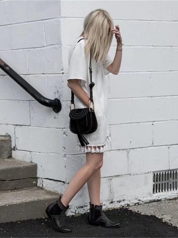 White V Neck Short Sleeve Tassel Mini Dress