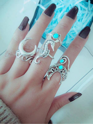 Vintage Sea Horse 6Pcs Turquoise Rings Sets