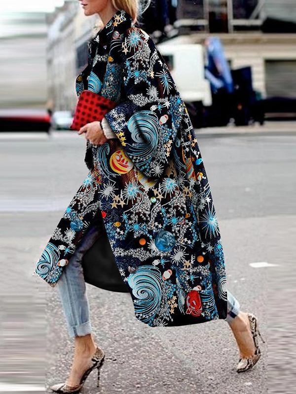Stylish Fashion Starry Sky Printed Long Sleeve Coats