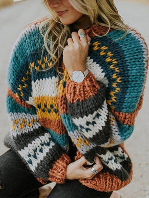 Boho Multicolor Stitching Casual Striped Autumn Winter Cardigan Sweater