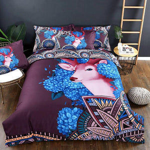Bohemian Forest Floral Elk 3D Printed 3Pcs Duvet Cover Sets