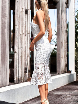 Spring And Summer Sexy Hanging Neck Lace Backless Midi Dress