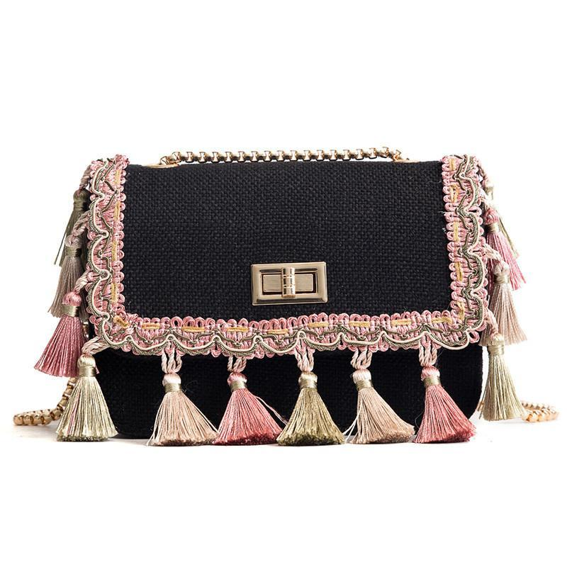 Boho Fringe tassel Mini Chain Canvas Shoulder Crossbody Bag - Voguetide