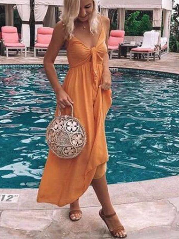 Summer Elegant Beach Sling Solid Color Dress