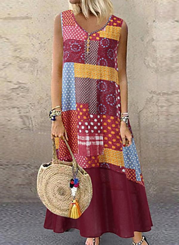 Bohemian Geometric Pattern Print Loose Casual Maxi Dress