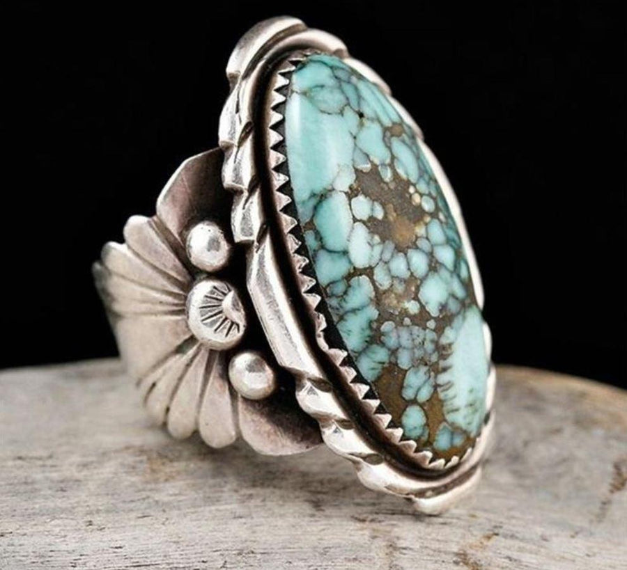 Vintage Silver Turquoise Gemstone Floral Rings Jewelry