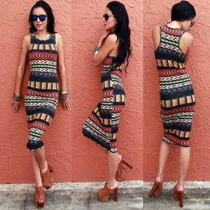 Summer Wrap Hip Print Sexy Sleeveless Beach Dress