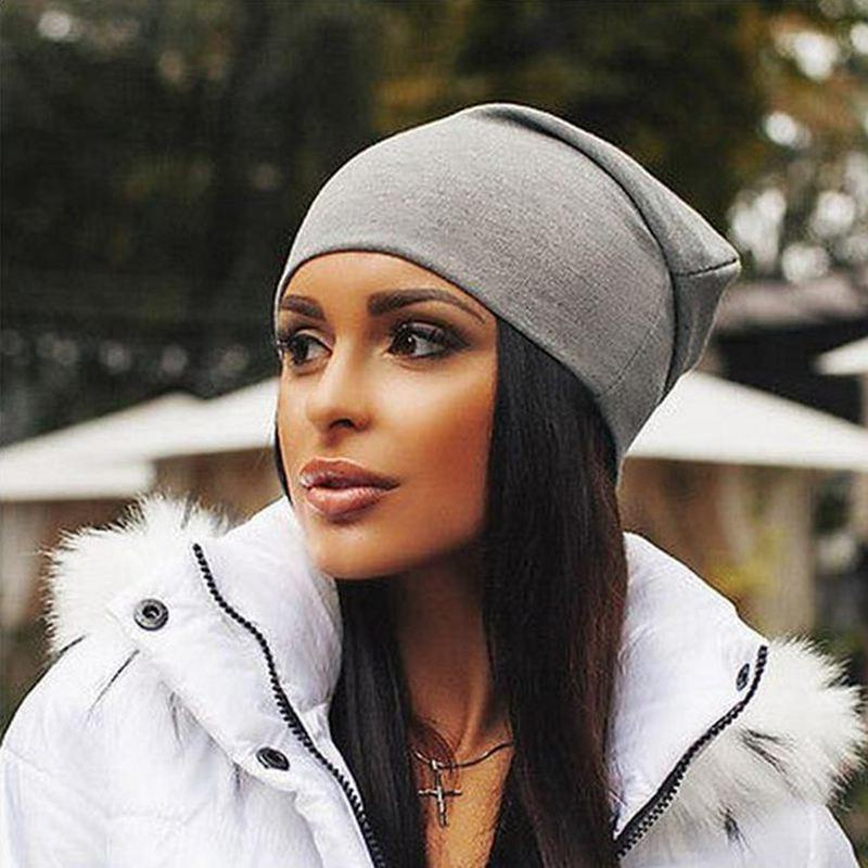 Hip-hop Soft Stretch Slouchy Solid Color Skull Cap