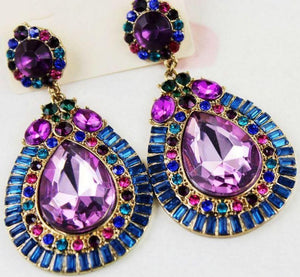 Elegant Crystal Diamond Colorful Drop Shape Earrings
