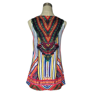 Vintage Printed Sleeveless Bohomian Style Beach Mini Dress