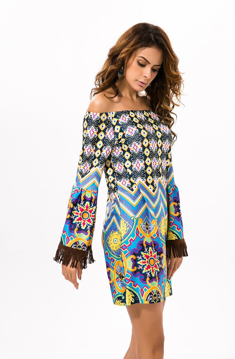 Summer Bohemia Floral Off Shoulder with Tassels Bodycon Mini Dress