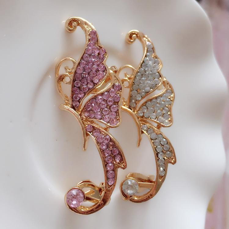 Boho One Piece Rhinestone Butterfly Ear Cuff Earring