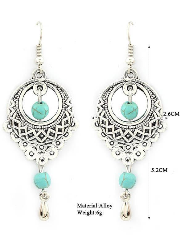 Vintage Ethnic Turquoise Hollow Carved Water Drops earrings