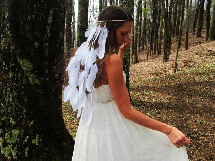 White Feather Bohemian Wedding Bride Headwear