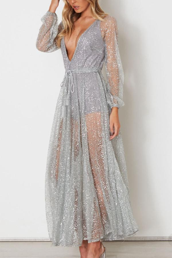 Sexy Silver Mesh Backless Maxi Dress