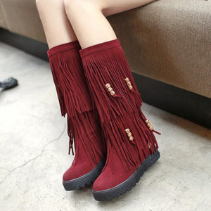 Women Boho Winter Tassel Warm Hidden Heel Long Boots