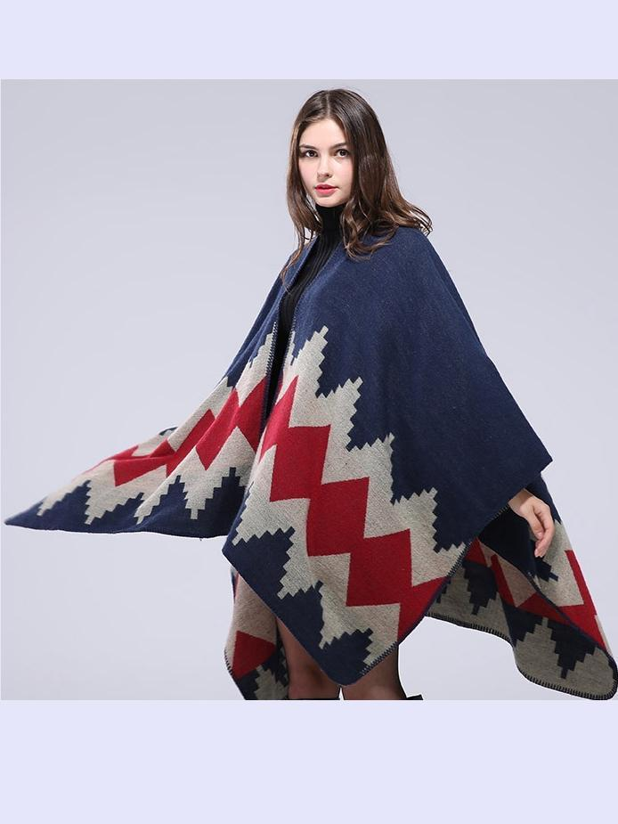 Handmade Seaming Thickening Long Cloak Warm Decorative Shawl Scarf - Voguetide