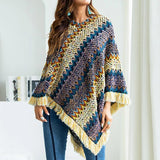 Boho Knitted Pullover Sweater Tassels Shawl Scarf